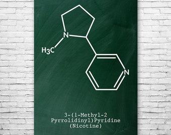 Nicotine Molecule Poster Science Art Print, Nicotine, Tobacco, Cigar, Cigarette, Smoking, Chemistry Art, Science Print, Chemistry Poster