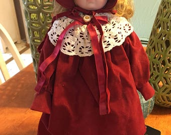 Vintage Porcelain doll Red Dress Studio 5