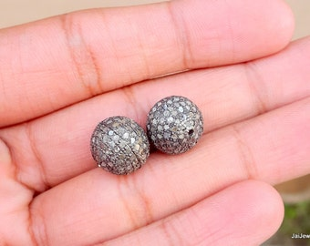 Pave Diamond Beads- Diamond spacer- Silver spacer- Diamond beads- Pave spacer Beads- Silver spacer beads- oxidised spacer