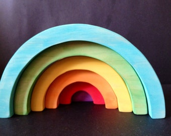 Waldorf Inspired Rainbow Stacker Raw or Painted