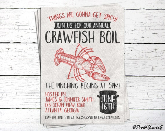 Crawfish Boil Invite Personalized Printable Rustic Crawfish