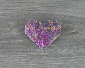 Purple Glitter Heart Pin