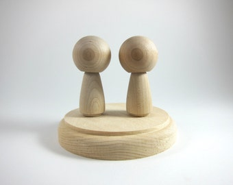 Kokeshi Doll Cake Topper Set | Unfinished Wood Peg Doll Set with Wooden Base for Wedding Cake Toppers, Blank Wooden Figurines