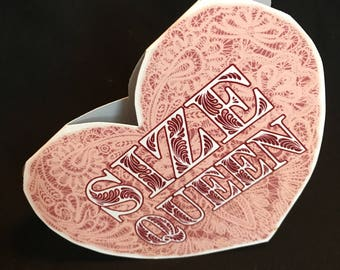 SIZE QUEEN card, heart shaped funny valentine card, blank inside