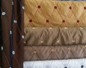 """Remington, by Softline- Embroidered Taffeta Fabric with Diamond Pattern, 59 """", Sold By the Yard, 16 color available, Free Shipping in USA"""