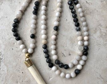 Long Beaded Necklace / Bone Tusk Pendant- Gray/White Laboradite and Agate Gemstones / Boho Jewelry / Womens Statement Necklace / Handmade