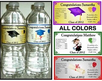 100 GRADUATION PARTY FAVORS Water Bottle Labels ~ Glossy ~ Waterproof Ink