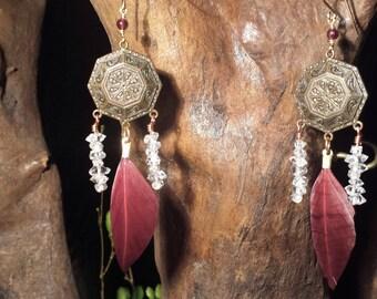 Herkimer Diamonds, Dangle Earrings, Red Feathers, Vintage, Garnet, Powerful, Love