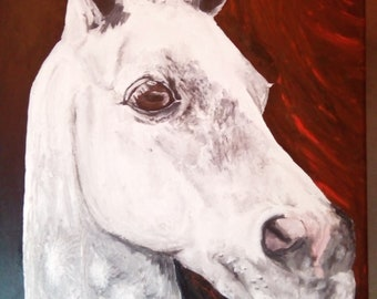 Dapple Grey Horse Portrait Acrylic Painting On Canvas Original