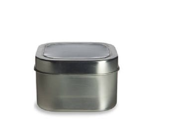 12 oz Clear Top Square Tins