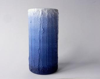 Navy Blue ombre Vase / blue home decor / handcrafted vase / blue flower vase / cylinder vase