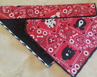 PET BANDANAS-Dog n' Cat-Red, White n' Black Pooches