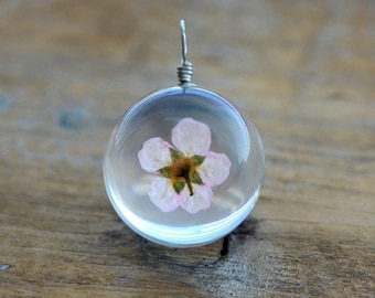 1 - Double Sided Glass Bubble Pendant with Preserved Pink Flower Inside Vintage Jewelry Supplies (AL043) 50DFL