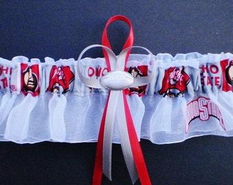 Ohio State University Logo Wedding Garter Keepsake Football Charm White