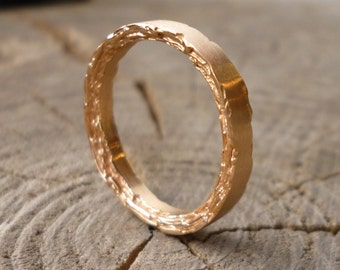 3mm 18kt Rose Gold Rough Edge Band