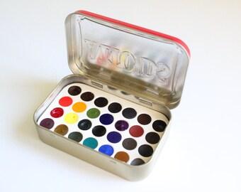 Watercolor Travel Set in Altoids Tin, 28 Artist Grade Color Palette