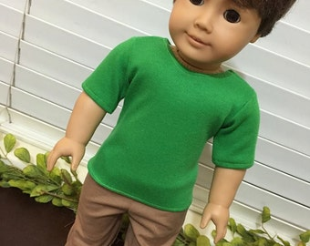 American Boy Doll Clothes, 18 inch doll clothes, green shirt