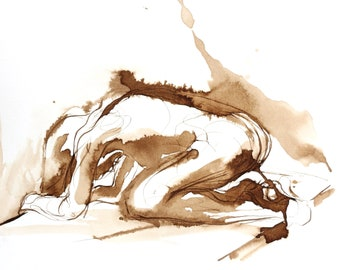 Expressionist Figure Drawing, Original Pen and Ink Wash, Brown Walnut Ink on Paper, Kneeling Crouched Female Figure, Expressive Wall Art