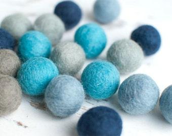 Blue Felt Balls x20. 2cm. Mixed Blue Grey Wool Felt Balls. Colourful blue beads. Mixed colours. Bulk. Winter Shade Felt Balls Party Decor.