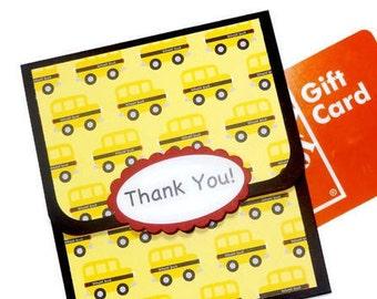Teacher Appreciation, Teacher Gift, Bus Driver Gift Card Holder, Thank You School Bus Driver, Teacher Gift Card Holder, Money Card, Handmade
