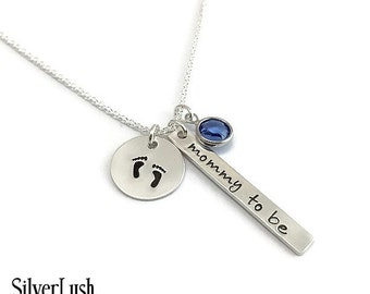 Pregnancy Announcement Hand Stamped Sterling Silver Necklace with Birthstone