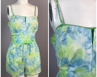 Vintage 1950s Green and Blue One Piece Swimsuit Playsuit Romper by Gabar / Women's Medium / 50s Pinup Resort Wear Rockabilly
