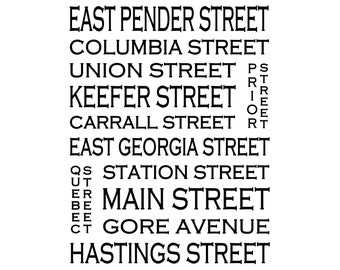Chinatown Vancouver B.C. - Love This Place Street Name Art Print on Paper - Customize With Your Street - Home Decor TheJitterbugShop