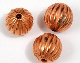 12mm Corrugated Coppertone Bead (6 Pcs) #2087