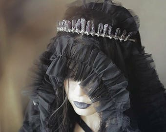 Black widow witchy crystal crown, natural amethyst crystal diadema,  fantasy mystic crown
