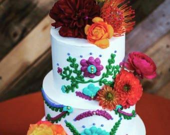 Fiesta Cake Topper - LAS FLORES papel picado - dessert table decoration
