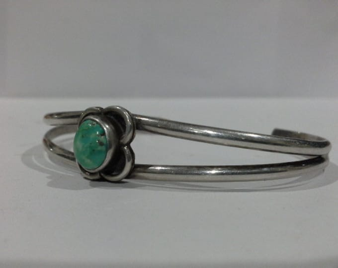 Vintage Hand Wrought Sterling Silver & Turquoise Cuff Bracelet with Flower Hand Made Artisan