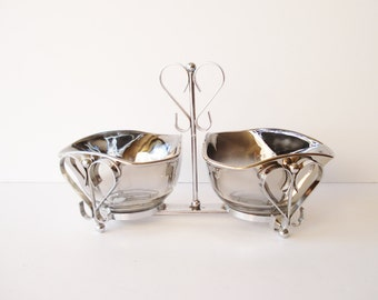 Vintage Silver Fade Relish Condiment Serving Caddy, Vitreon Queens Lusterware Bowls, Silver Ombre Relish Dishes