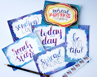 Original Watercolor Postcards Set, Inspirational Messages, Spread Kindness, Send Love, Just Because, 4x6