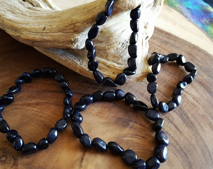 Tumbled Blue Goldstone stretchy bracelet ~ 1  Reiki infused gemstone bead bracelet approx 8 inches