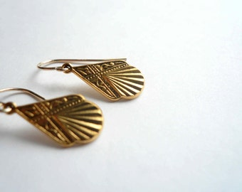 Gold art deco earrings Teardrop antiqued gold dangles Petite 1920s pendants 14K gold fill ear wires Or antiqued silver on sterling ear wires