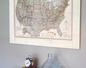 Push Pin Travel Map, USA Map, Framed Push Pin Map, Wall Map **Ready To Ship**