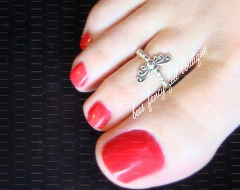 Butterfly Toe Ring, Butterfly Ring, Silver Toe Ring, Silver Ring, Silver Beads, Toe Ring, Ring, Stretch Bead Toe Rings