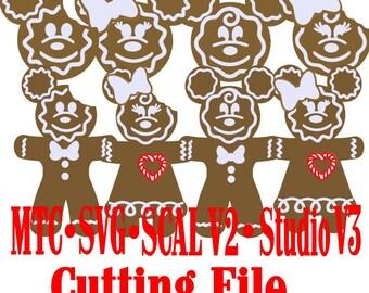 Pain d'épice Bundle souris têtes et pain d'épice souris hommes & femmes vacances cadeau Tag coupe fichiers MTC SVG SCAL v2 numérique Format lot de 8