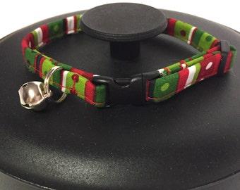 Cat collar, Christmas cat collar, red and green collar, holiday cat collar, adjustable cat collar, break away cat collar, cat gift