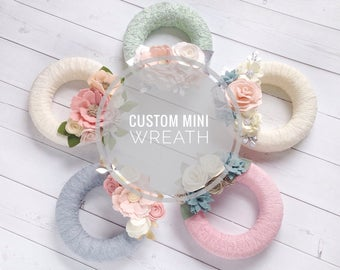 "Custom Mini Wreath - Mini Felt Flower Wreath - 6"" Wreath - Lace Wreath - Floral Nursery Decor - Floral Wall Decor - Flower Nursery Decor"