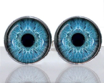 Round Glass Tile Cuff Links - Blue Eyes CIR104