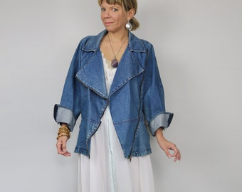 70s - early 80s Asymmetrical Denim Jacket by EXIT Paris, urban, grunge, bohemian, classic, chic, festival wear, for size small medium large