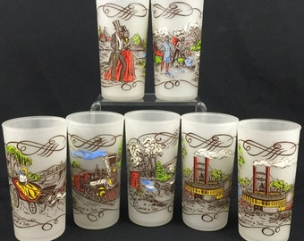 VTG Set Of 7 Frosted Glasses Currier And Ives Hazel Atlas Gay Fad Painted Glasses 1900's Scenes Coolers from the 1950's