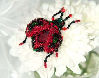 Ruby Emerald Swarovski bead embroidered beetle brooch AWARD WINNER OOAK | Statement jewelry | Unique gift for giflfriend wife sister mother