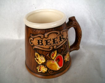 Vintage Beer Stein Mug Made By Treasure Craft Ceramics 1970s Measures 4 & 3/4 X   5 inches Good Condition