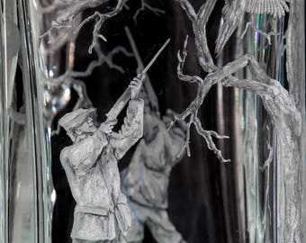 Hand engraved crystal whisky decanter, game bird shoot