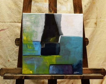 ORIGINAL Small Abstract Painting White Turquoise Blue Green Yellow Black 10 x 10 Gallery Wrapped