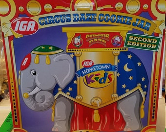 IGA Circus Daze, Cookie jar, 1998 2nd edition circus elephant, IGA, mint in box, excellent, Cookie, advertising, cookie jar,