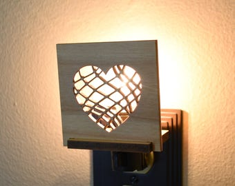 Valentines Day Decor Wood LED Night Light Interchangeable. Valentine Heart Night Lite.