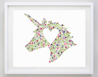 Unicorn Floral Watercolor Art Print